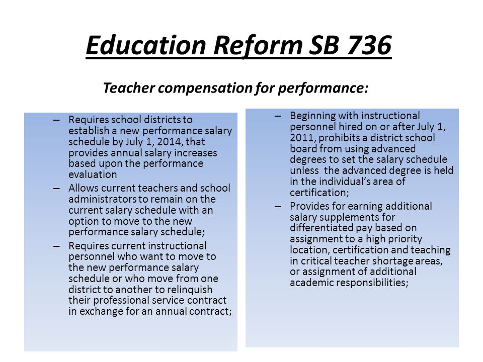 Pension Reform Effective July 1, 2011, requires 3% employee contribution for all FRS members.