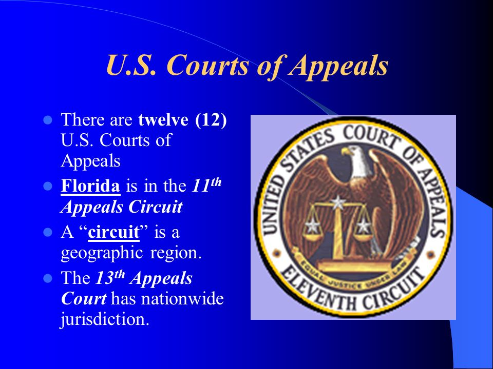 U.S. Courts of Appeals There are twelve (12) U.S. Courts of Appeals Florida is in the 11 th Appeals Circuit A circuit is a geographic region. The 13 t