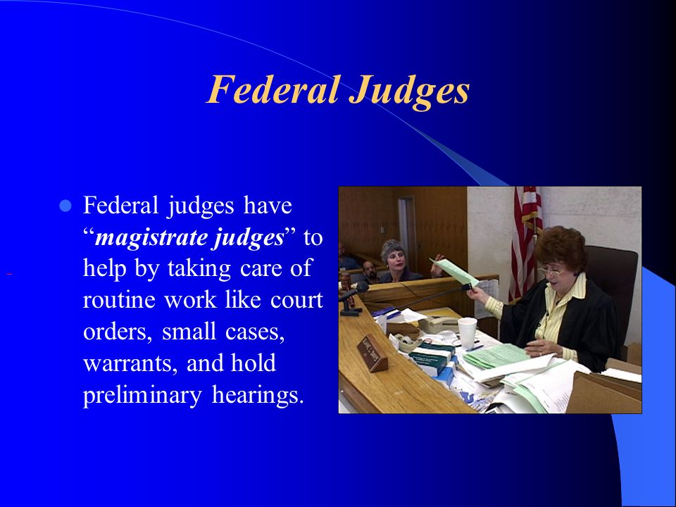 Federal Judges Federal judges havemagistrate judges to help by taking care of routine work like court orders, small cases, warrants, and hold prelimin
