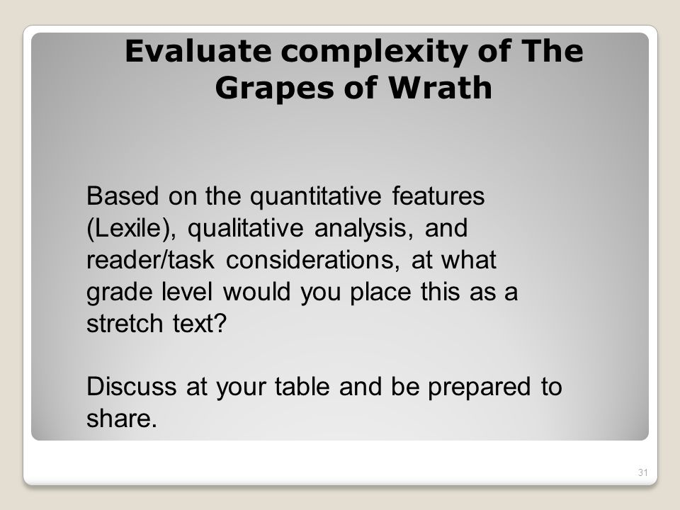 Evaluate complexity of The Grapes of Wrath Based on the quantitative features (Lexile), qualitative analysis, and reader/task considerations, at what