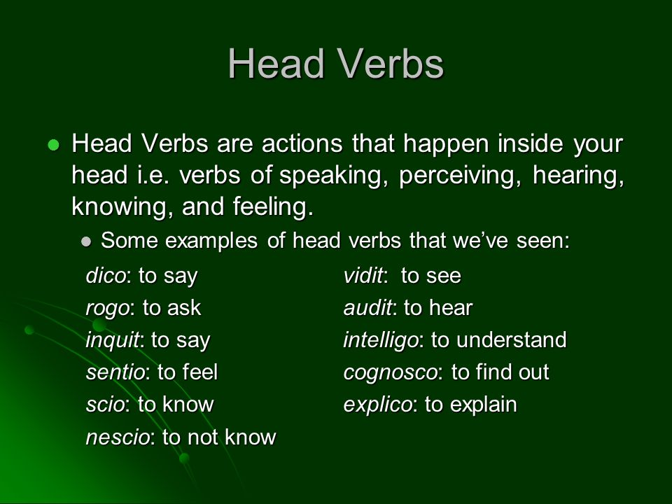 Head Verbs Head Verbs are actions that happen inside your head i.e. verbs of speaking, perceiving, hearing, knowing, and feeling. Head Verbs are actio