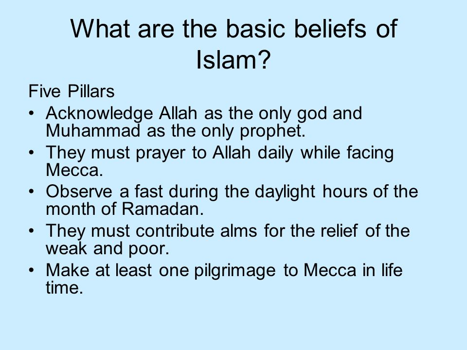 What are the basic beliefs of Islam.