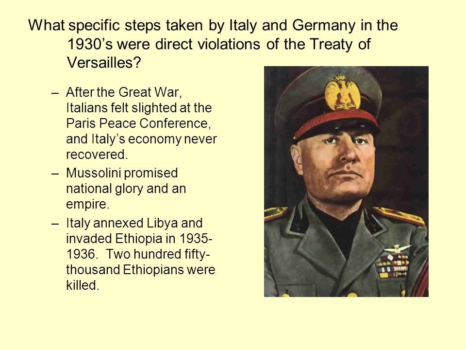 What specific steps taken by Italy and Germany in the 1930s were direct violations of the Treaty of Versailles.