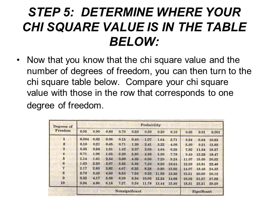 STEP 5: DETERMINE WHERE YOUR CHI SQUARE VALUE IS IN THE TABLE BELOW: Now that you know that the chi square value and the number of degrees of freedom,