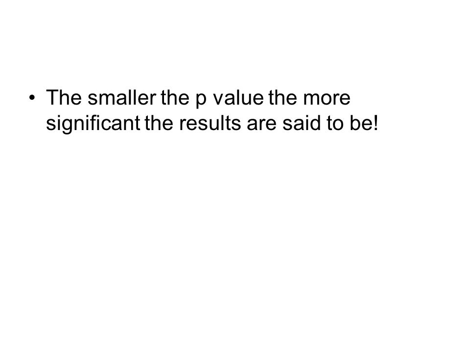 The smaller the p value the more significant the results are said to be!