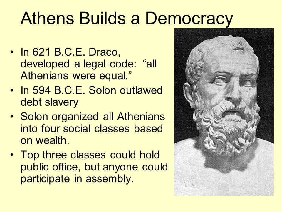 Athens Builds a Democracy In 621 B.C.E.Draco, developed a legal code: all Athenians were equal.