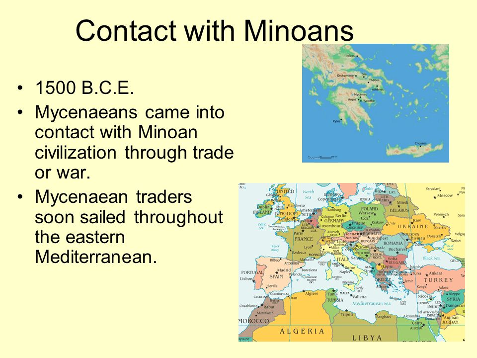 Contact with Minoans 1500 B.C.E.
