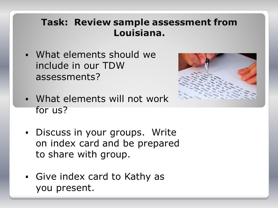 Task: Review sample assessment from Louisiana.