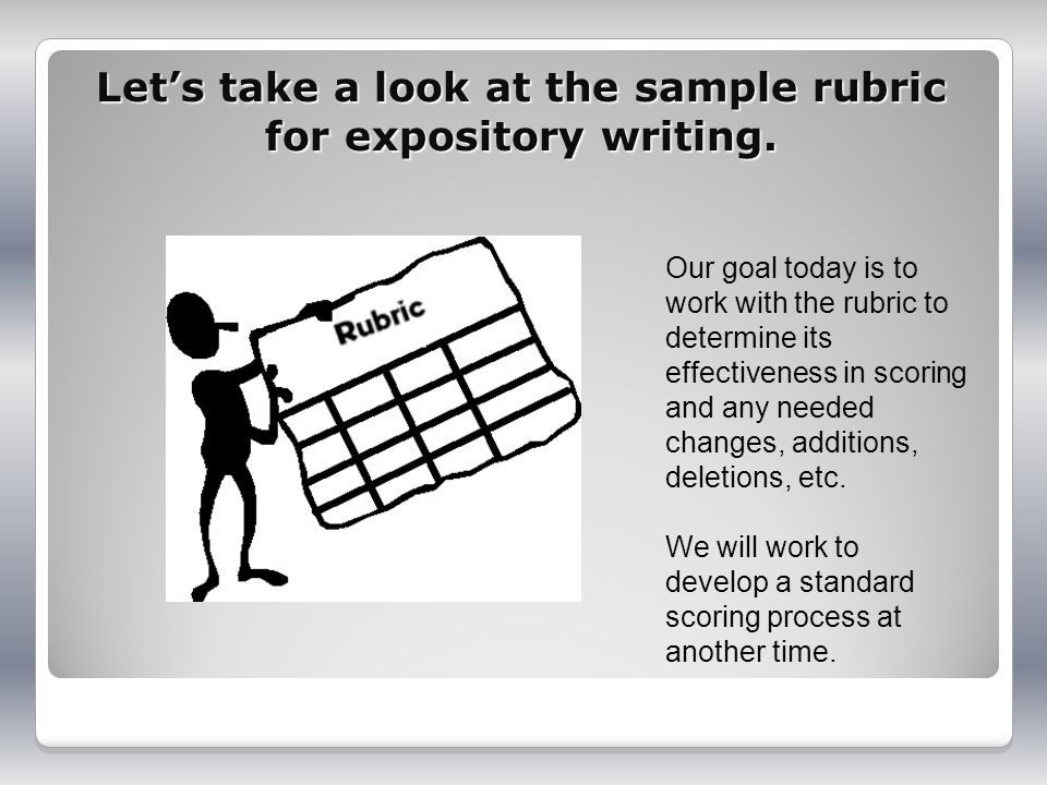 Lets take a look at the sample rubric for expository writing.
