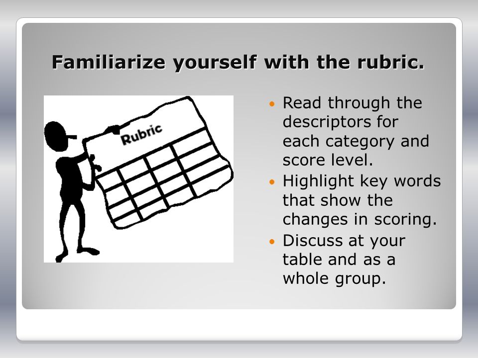 Familiarize yourself with the rubric.