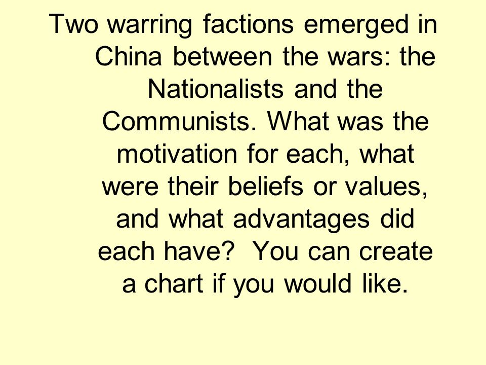 Two warring factions emerged in China between the wars: the Nationalists and the Communists. What was the motivation for each, what were their beliefs