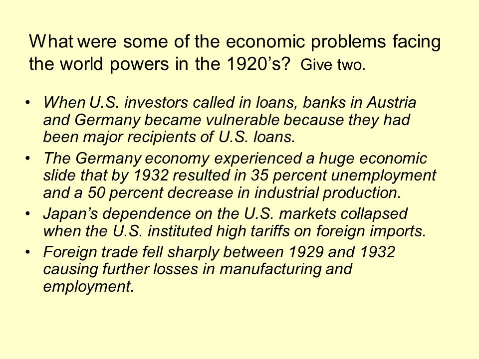 What were some of the economic problems facing the world powers in the 1920s? Give two. When U.S. investors called in loans, banks in Austria and Germ