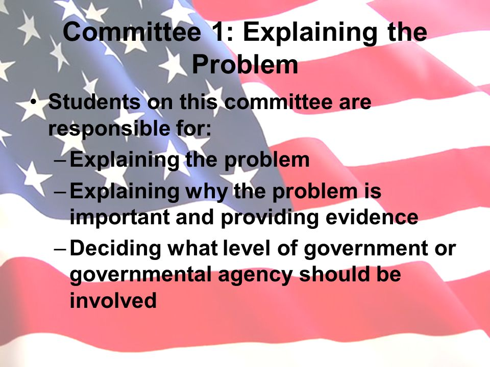 Committee 1: Explaining the Problem Students on this committee are responsible for: –Explaining the problem –Explaining why the problem is important and providing evidence –Deciding what level of government or governmental agency should be involved