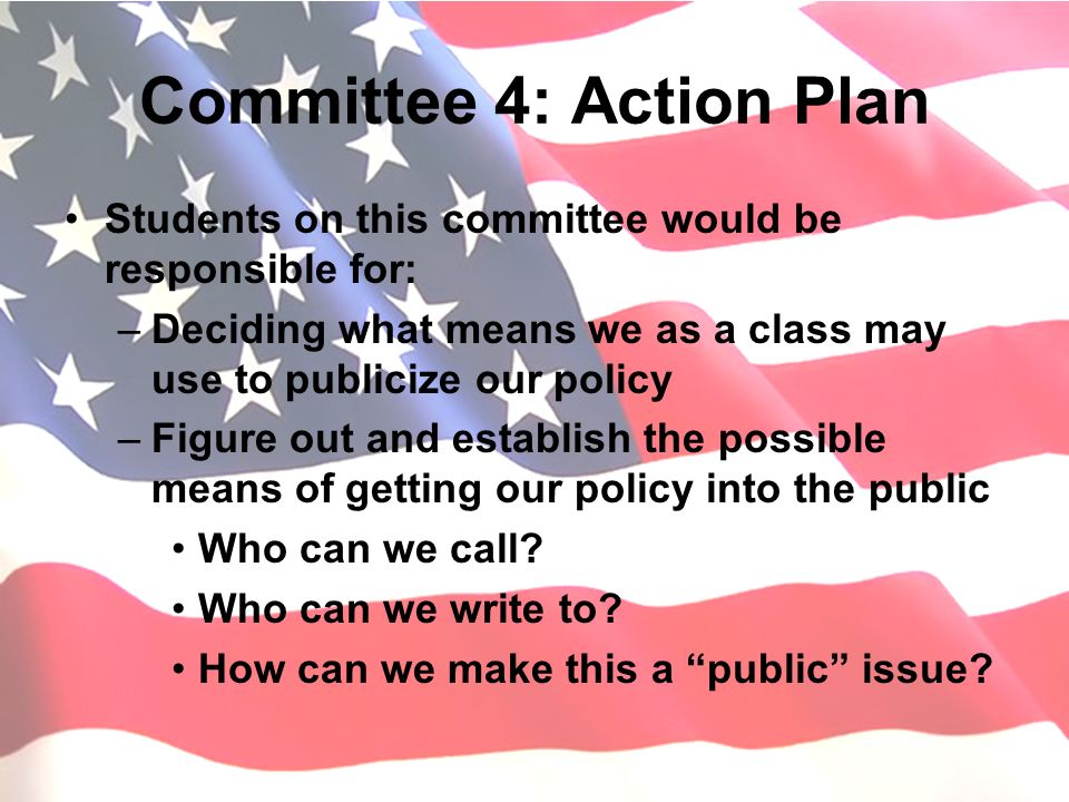 Committee 4: Action Plan Students on this committee would be responsible for: –Deciding what means we as a class may use to publicize our policy –Figu