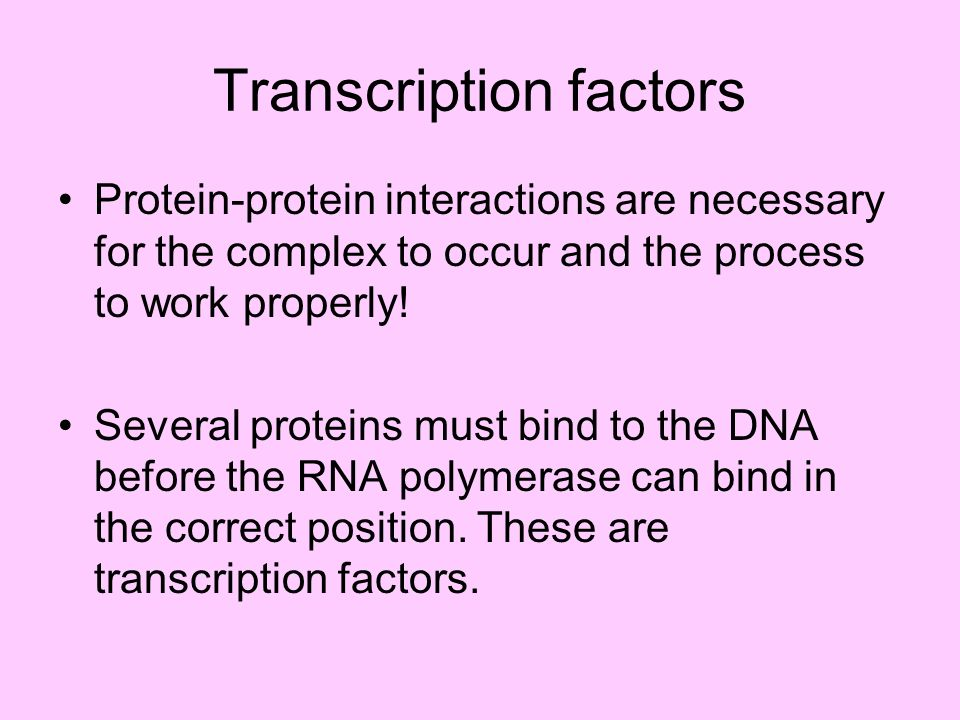 Transcription factors Protein-protein interactions are necessary for the complex to occur and the process to work properly! Several proteins must bind