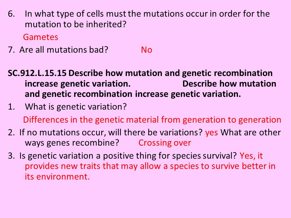6.In what type of cells must the mutations occur in order for the mutation to be inherited? Gametes 7. Are all mutations bad? No SC.912.L.15.15 Descri
