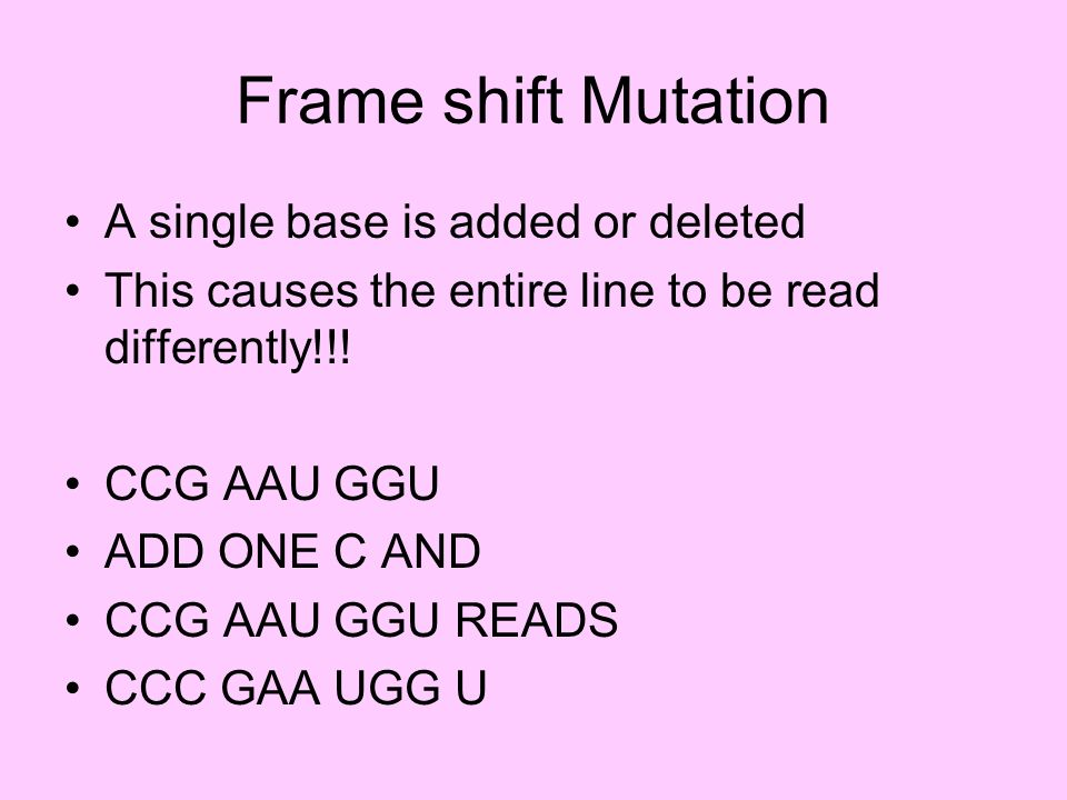 Frame shift Mutation A single base is added or deleted This causes the entire line to be read differently!!! CCG AAU GGU ADD ONE C AND CCG AAU GGU REA