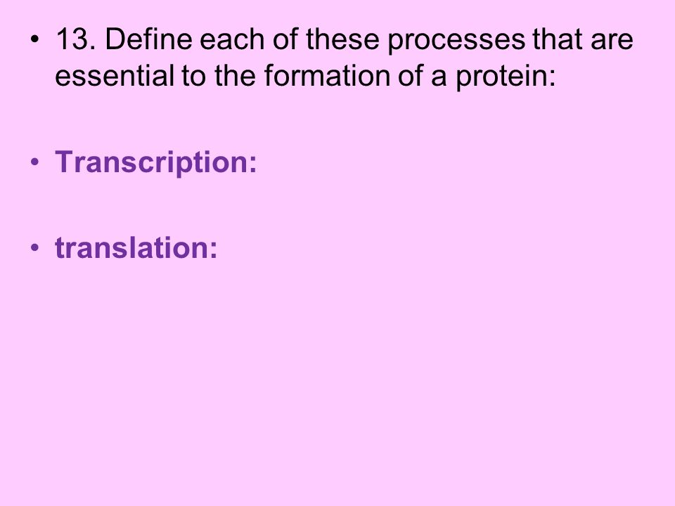 13. Define each of these processes that are essential to the formation of a protein: Transcription: translation: