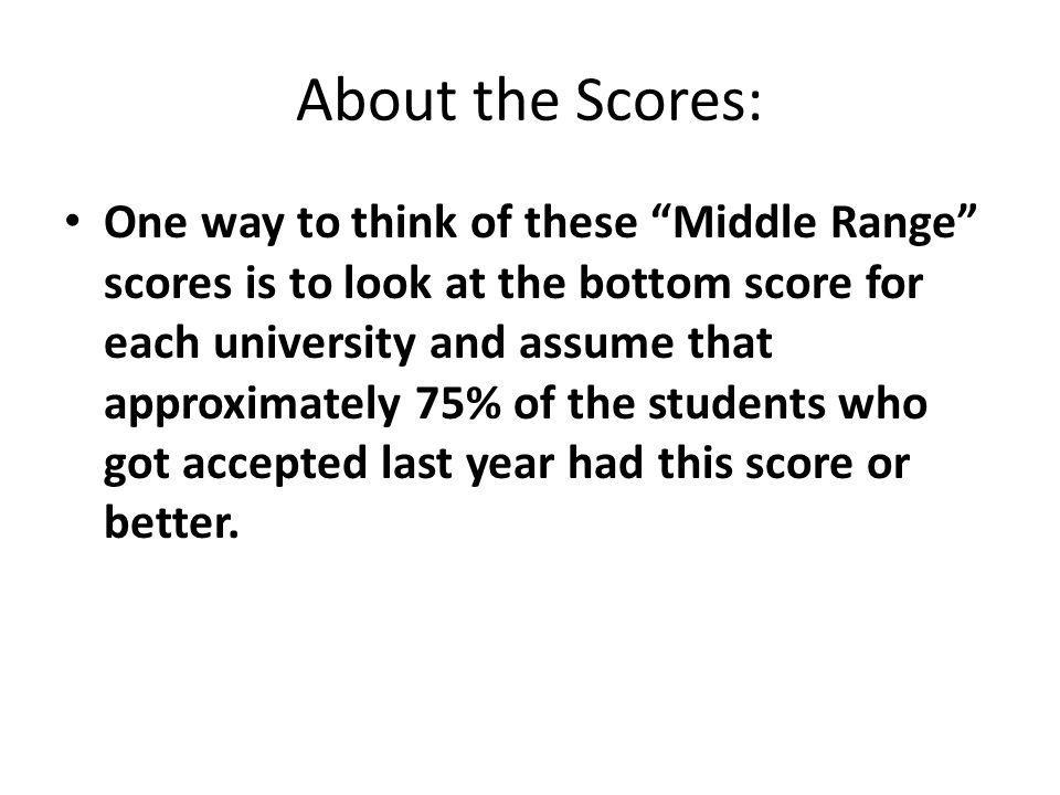About the Scores: One way to think of these Middle Range scores is to look at the bottom score for each university and assume that approximately 75% o