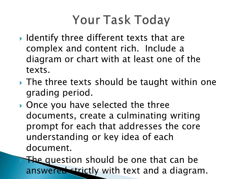 Identify three different texts that are complex and content rich. Include a diagram or chart with at least one of the texts. The three texts should be