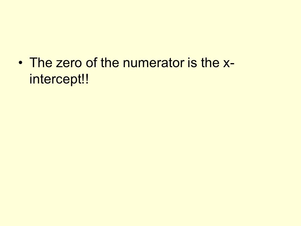 The zero of the numerator is the x- intercept!!
