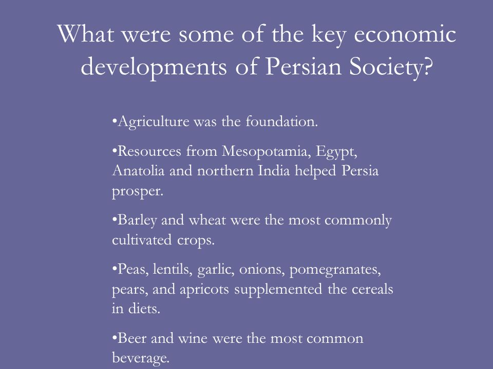 What were some of the key economic developments of Persian Society.