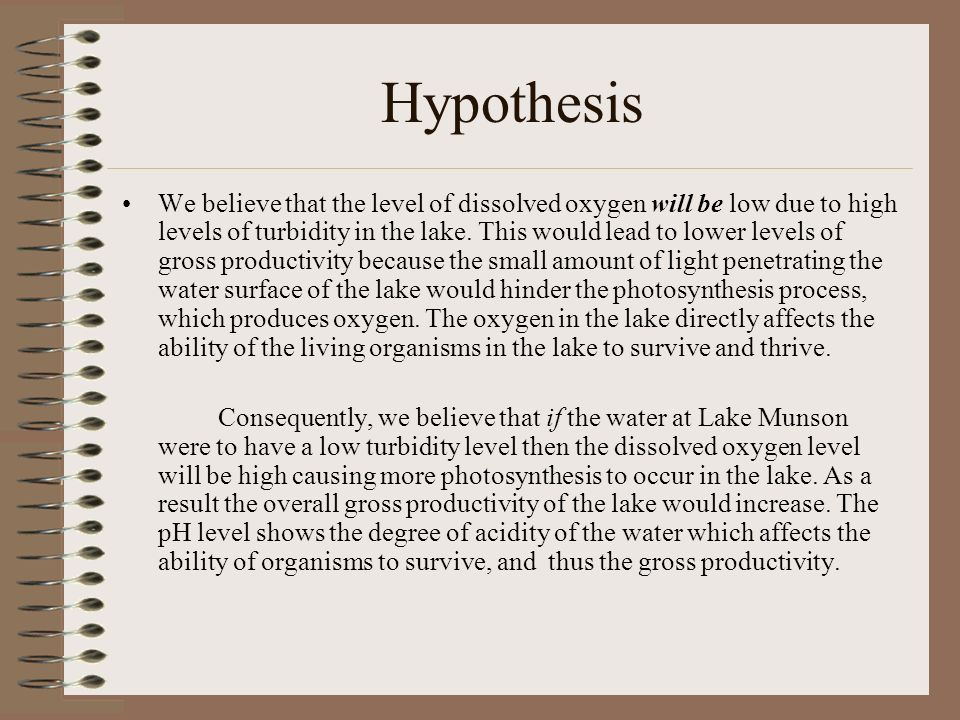 Hypothesis We believe that the level of dissolved oxygen will be low due to high levels of turbidity in the lake. This would lead to lower levels of g