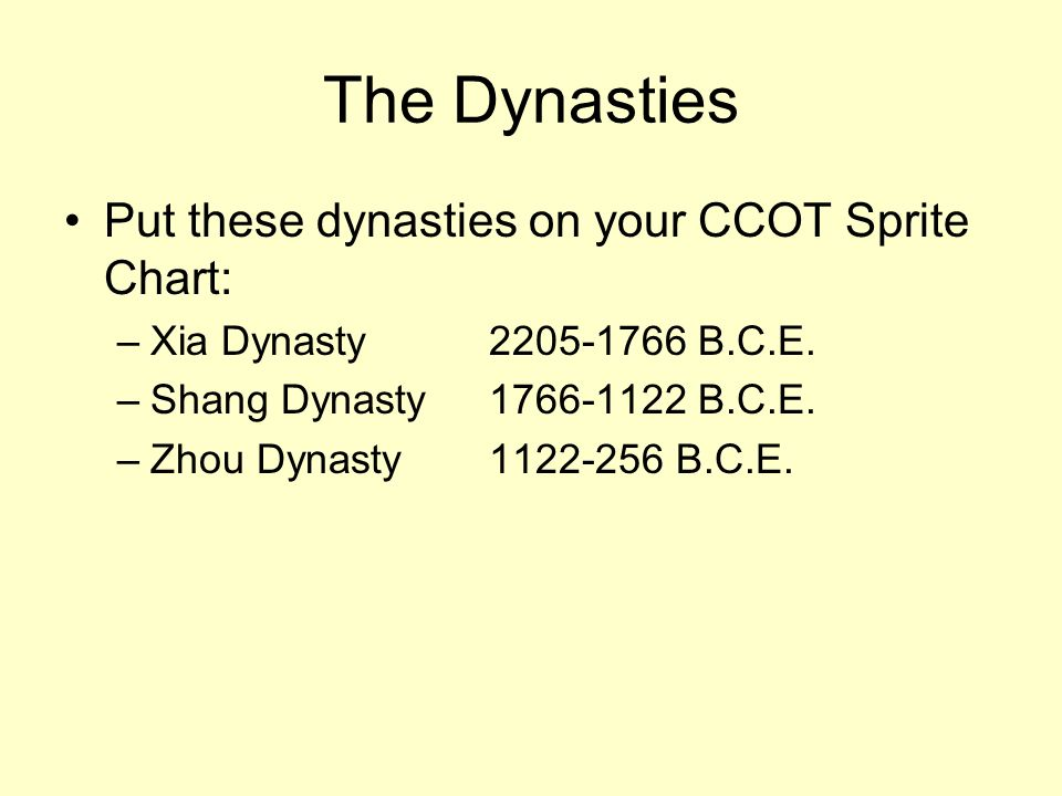 The Dynasties Put these dynasties on your CCOT Sprite Chart: –Xia Dynasty2205-1766 B.C.E. –Shang Dynasty1766-1122 B.C.E. –Zhou Dynasty1122-256 B.C.E.