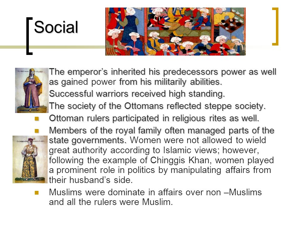 Social The emperors inherited his predecessors power as well as gaifrom his militarily abilities. The emperors inherited his predecessors power as wel