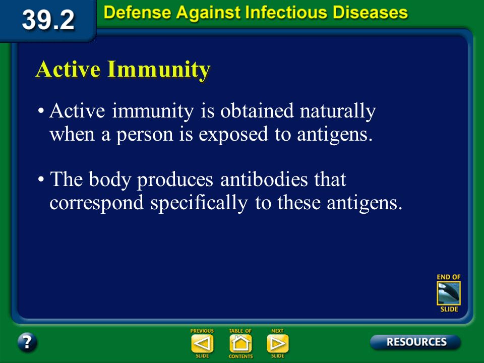 Section 39.2 Summary – pages 1031-1041 Artificial passive immunity involves injecting into the body antibodies that come from an animal or a human who