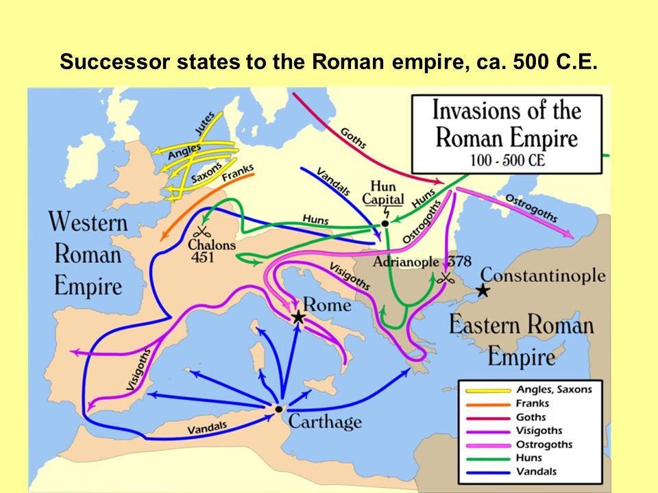 Successor states to the Roman empire, ca. 500 C.E.