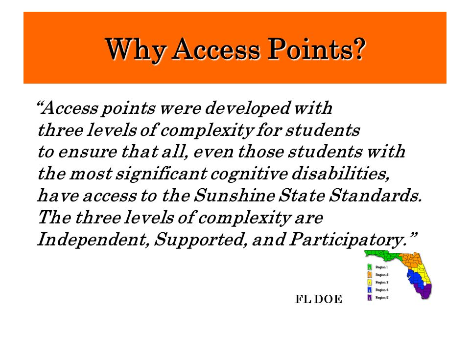 Access points were developed with three levels of complexity for students to ensure that all, even those students with the most significant cognitive