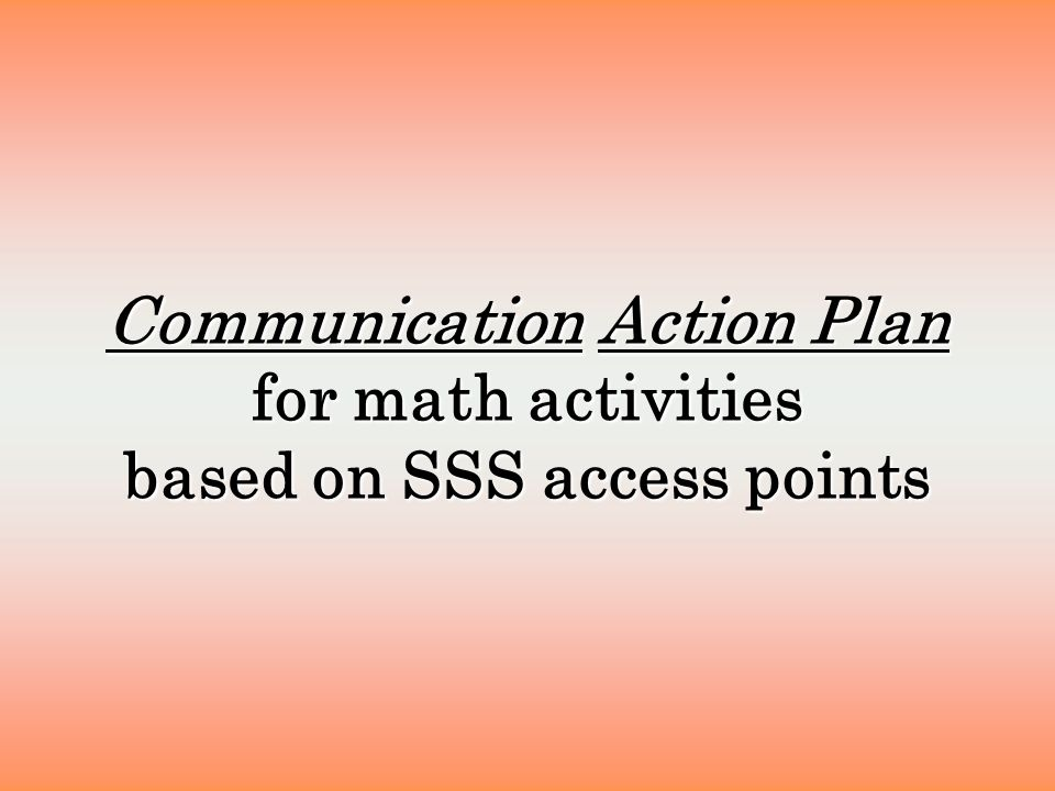 Communication Action Plan for math activities based on SSS access points