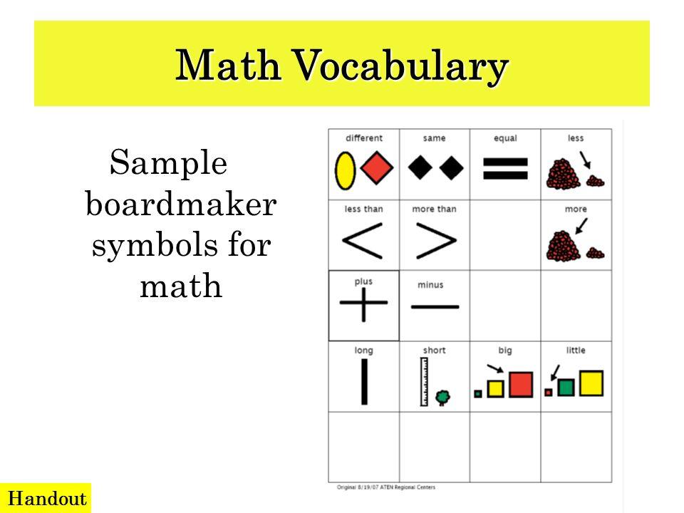 Sample boardmaker symbols for math Math Vocabulary Handout
