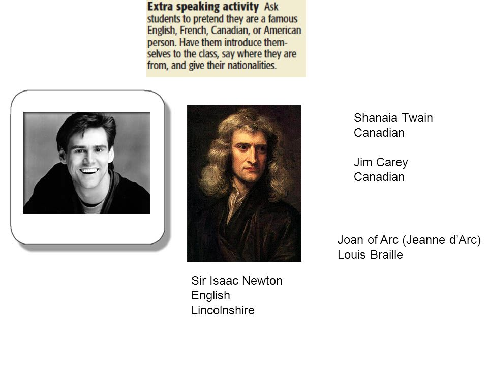 Sir Isaac Newton English Lincolnshire Shanaia Twain Canadian Jim Carey Canadian Joan of Arc (Jeanne dArc) Louis Braille