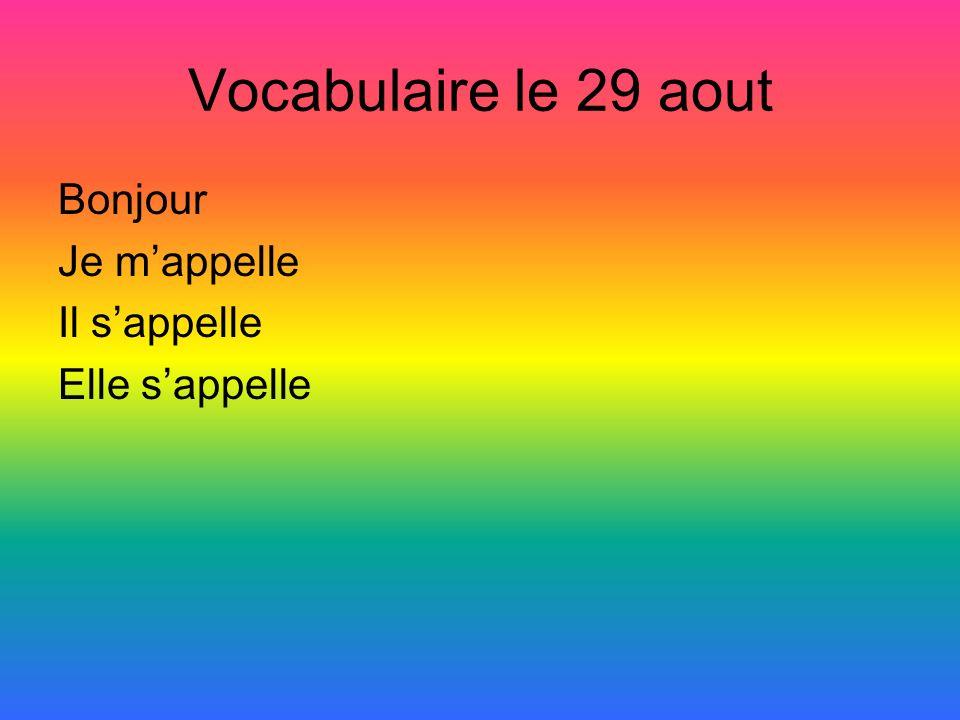 Vocabulaire le 29 aout Bonjour Je mappelle Il sappelle Elle sappelle