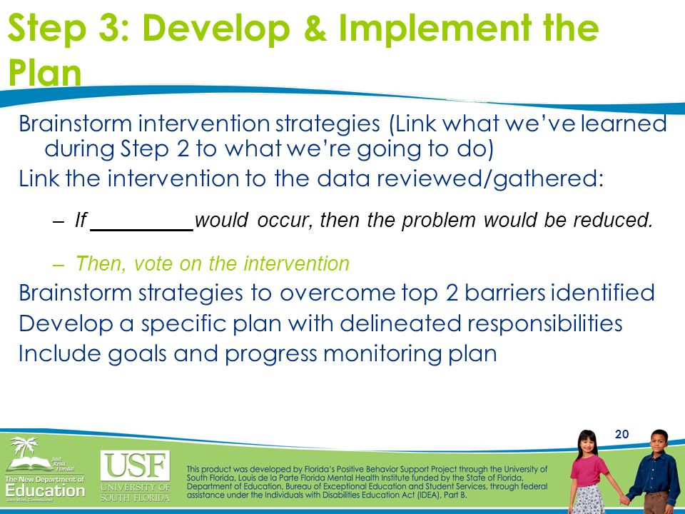 20 Step 3: Develop & Implement the Plan Brainstorm intervention strategies (Link what weve learned during Step 2 to what were going to do) Link the in