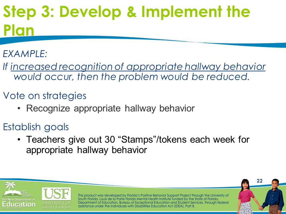 22 EXAMPLE: If increased recognition of appropriate hallway behavior would occur, then the problem would be reduced. Vote on strategies Recognize appr