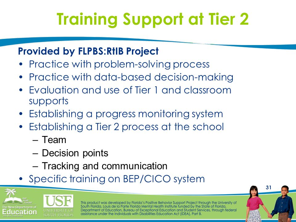 31 Training Support at Tier 2 Provided by FLPBS:RtIB Project Practice with problem-solving process Practice with data-based decision-making Evaluation