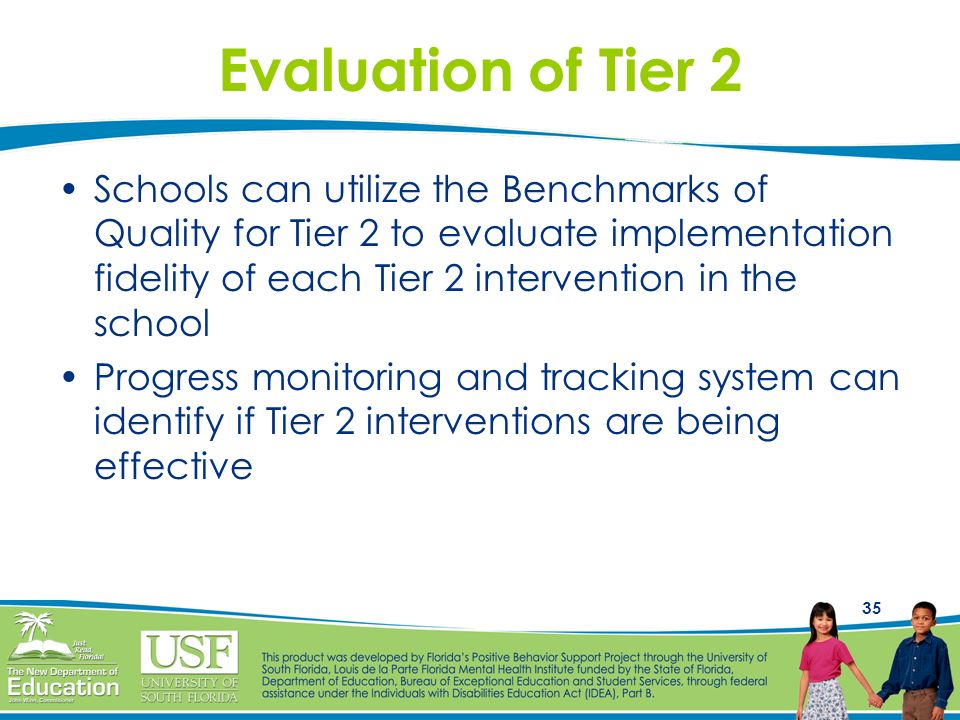 35 Evaluation of Tier 2 Schools can utilize the Benchmarks of Quality for Tier 2 to evaluate implementation fidelity of each Tier 2 intervention in th