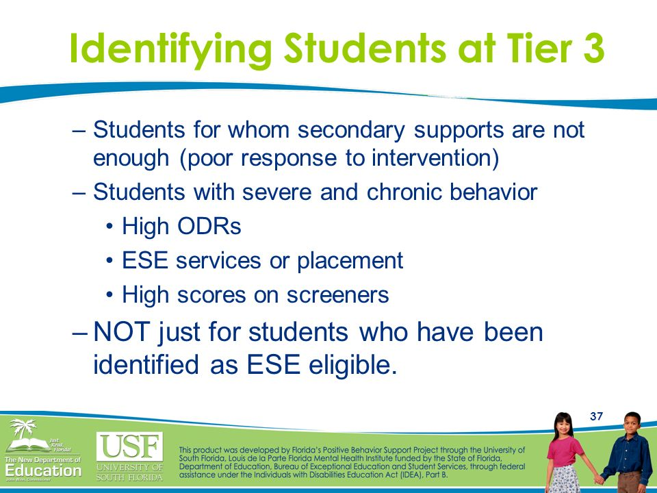 37 Identifying Students at Tier 3 –Students for whom secondary supports are not enough (poor response to intervention) –Students with severe and chron