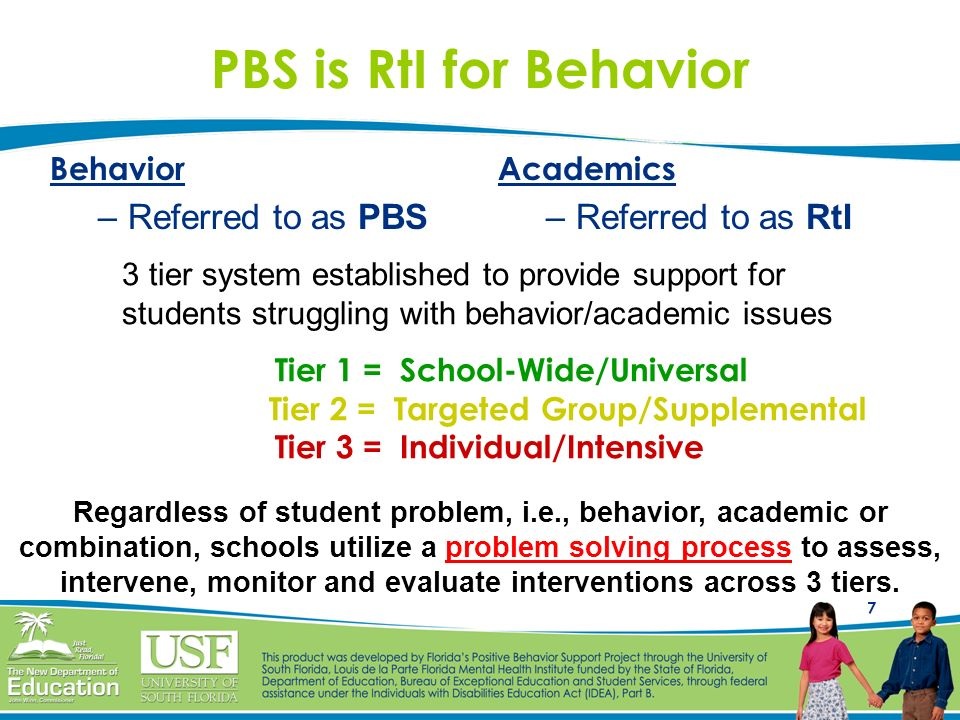 7 PBS is RtI for Behavior Behavior –Referred to as PBS Academics –Referred to as RtI Regardless of student problem, i.e., behavior, academic or combin
