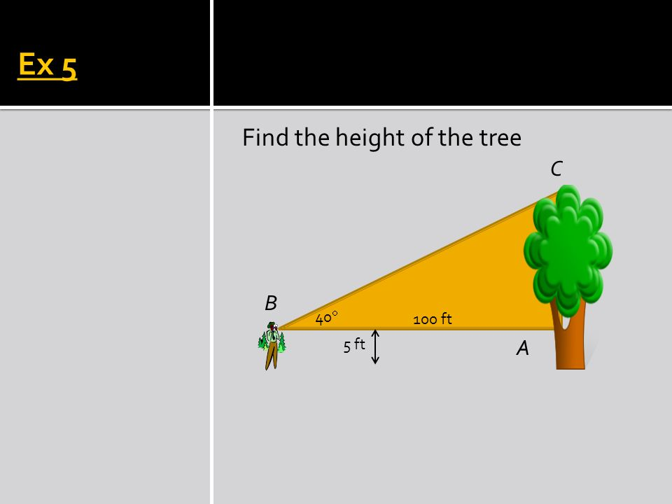 Find the angle of elevation. Ex 6 B C A 10 ft 48 ft arctangent is the same as inverse tangent