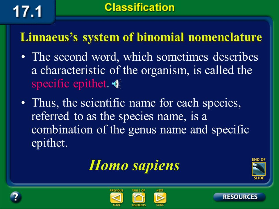 Section 17.1 Summary – pages 443-449 In this system, the first word identifies the genus of the organism. Linnaeuss system of binomial nomenclature Mo