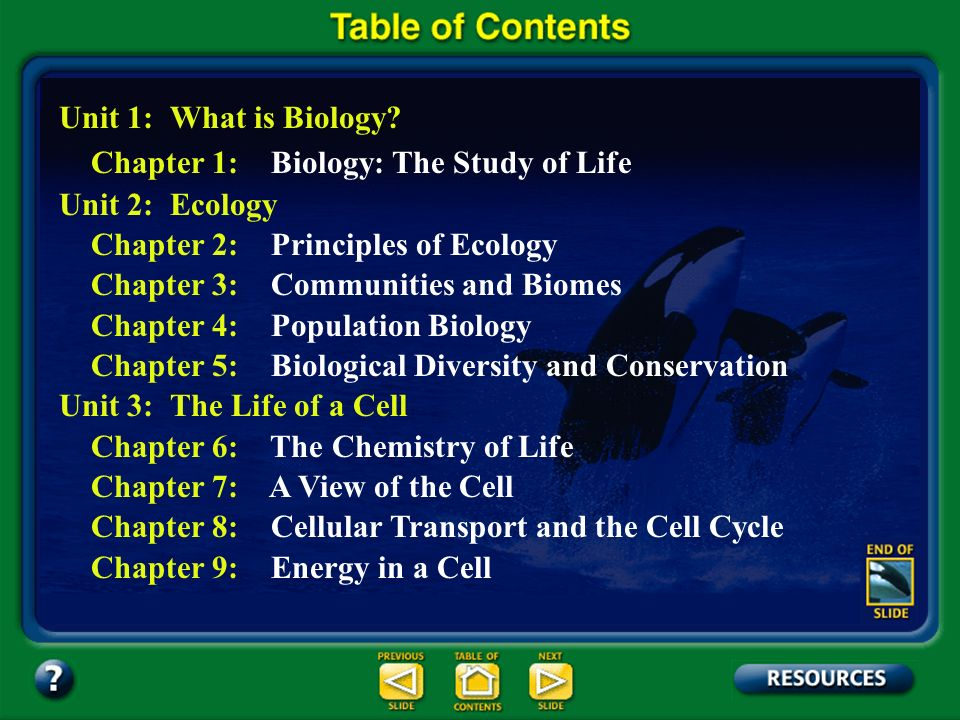 Table of Contents – pages iii Unit 1: What is Biology? Unit 2: Ecology Unit 3: The Life of a Cell Unit 4: Genetics Unit 5: Change Through TimeChange T