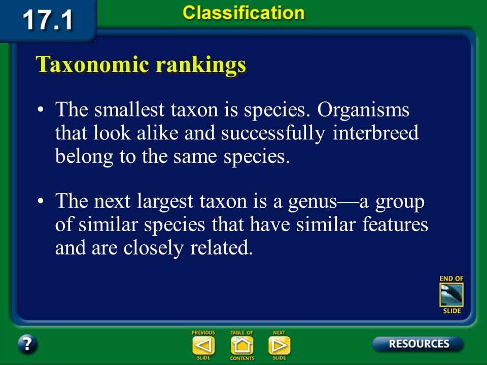 Section 17.1 Summary – pages 443-449 Taxonomic rankings Organisms are ranked in taxa that range from having very broad characteristics to very specifi