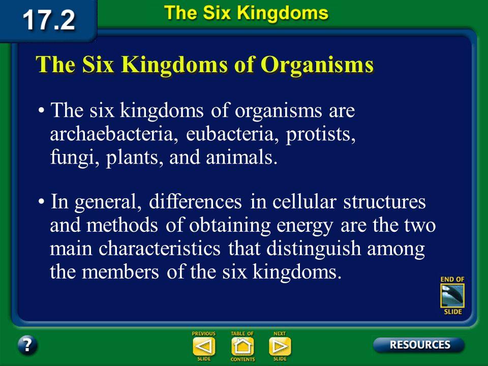 Section 17.2 Summary – pages 450-459 Lifes Six Kingdoms Lifes Six Kingdoms