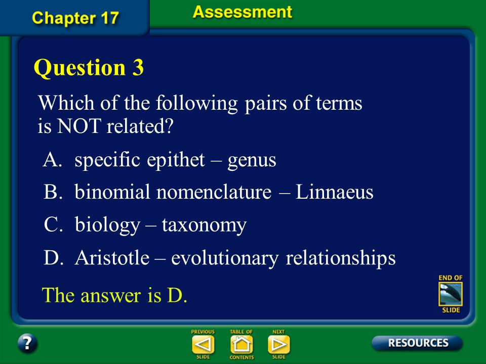 Chapter Assessment Question 2 Which taxon contains the others? D. family C. genus B. class A. order The answer is B. FL: SC.G.1.4.1