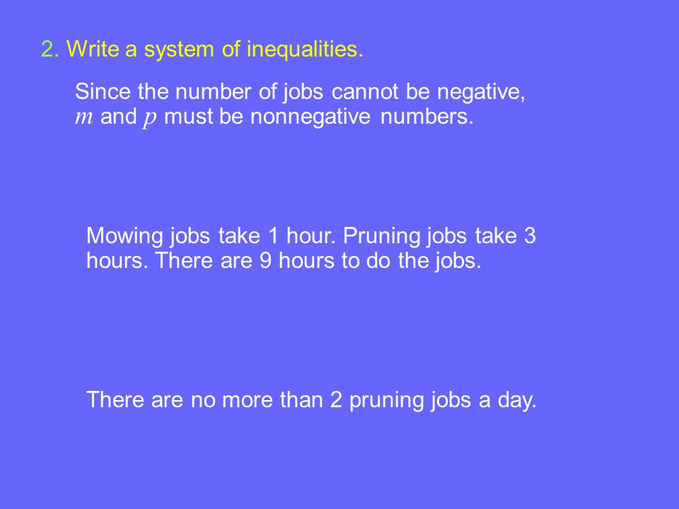 Example 4-3a 2.Write a system of inequalities. Since the number of jobs cannot be negative, m and p must be nonnegative numbers. Mowing jobs take 1 ho