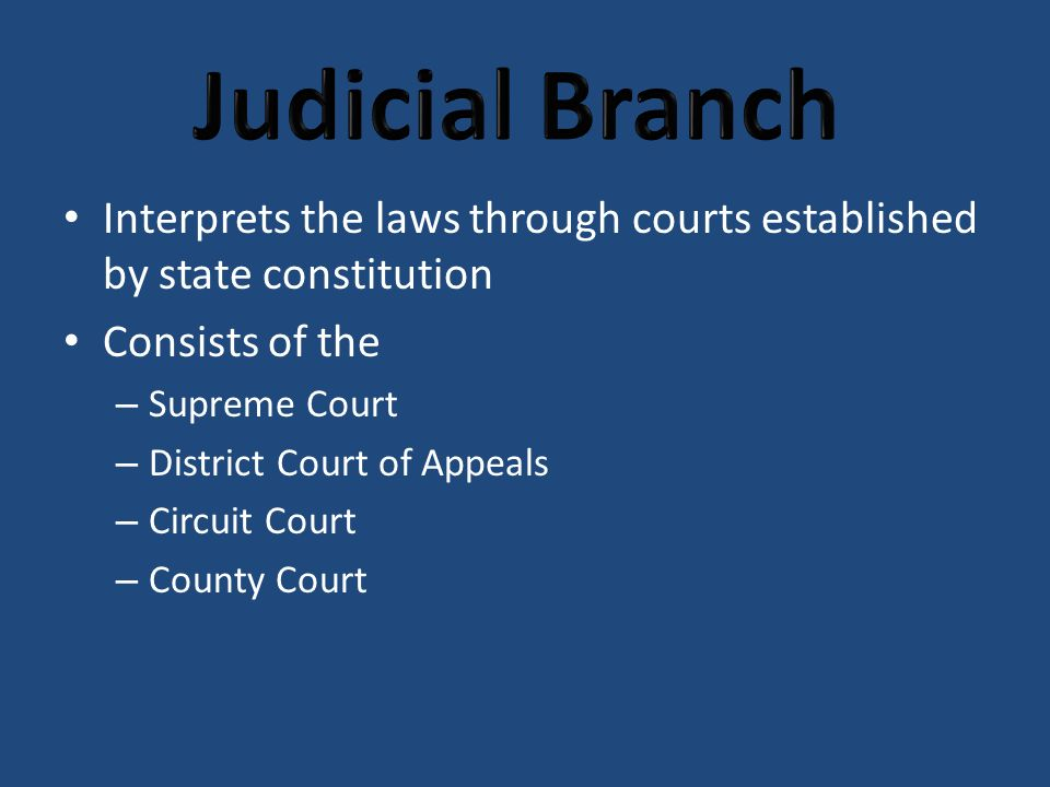 Interprets the laws through courts established by state constitution Consists of the – Supreme Court – District Court of Appeals – Circuit Court – County Court